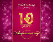 10 year anniversary celebration sparkling card — Stock Vector