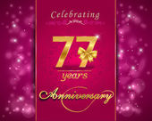 77 year anniversary celebration sparkling card — Stock Vector