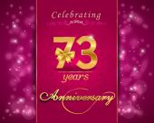 73year anniversary celebration sparkling card — Vector de stock