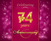 74 year anniversary celebration sparkling card — Vector de stock