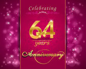 64 year anniversary celebration sparkling card — Vector de stock
