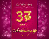 37 year anniversary celebration sparkling card — Stock Vector