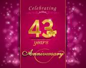 43 year anniversary celebration sparkling card — Stock Vector