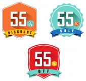 Set of 55 sale and discount — Stock Vector