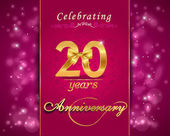 20 year anniversary celebration sparkling card — Stock Vector