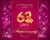 63 year anniversary celebration sparkling card — Vector de stock