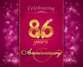 86 year anniversary celebration sparkling card — Vector de stock