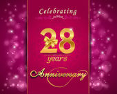 28 year anniversary celebration sparkling card — Stock Vector