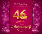 46 year anniversary celebration sparkling card — Vector de stock