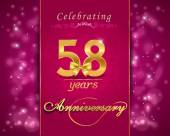 58 year anniversary celebration sparkling card — Stock Vector