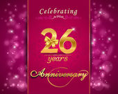 26 year anniversary celebration sparkling card — Stock Vector