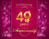 49 year anniversary celebration sparkling card — Vector de stock