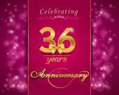 36 year anniversary celebration sparkling card — Stock Vector