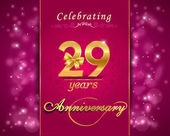 29 year anniversary celebration sparkling card — Vector de stock