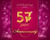 57 year anniversary celebration sparkling card — Stock Vector