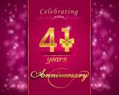 41 year anniversary celebration sparkling card — Stock Vector