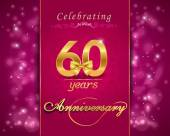60 year anniversary celebration sparkling card — Vector de stock