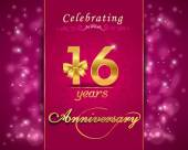 16 year anniversary celebration sparkling card — Stock Vector