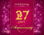 27 year anniversary celebration sparkling card — Stock Vector
