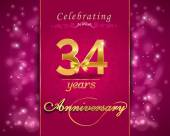 34 year anniversary celebration sparkling card — Stock Vector