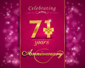 71year anniversary celebration sparkling card — Vector de stock