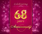 68 year anniversary celebration sparkling card — Stock Vector