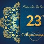 23 year anniversary celebration pattern — Stock Vector #62444447