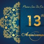 13 year anniversary celebration pattern — Stock Vector #62444359