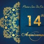 14 year anniversary celebration pattern — Stock Vector #62444365