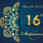 16 year anniversary celebration pattern — Stock Vector #62444379