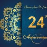 24 year anniversary celebration pattern — Stock Vector #62444449