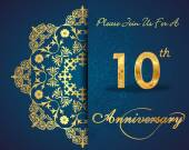 10 year anniversary celebration pattern — Vector de stock