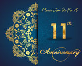 11 year anniversary celebration pattern — Vector de stock