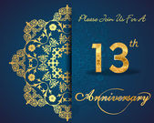 13 year anniversary celebration pattern — Vector de stock
