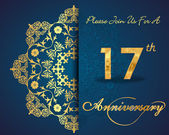 17 year anniversary celebration pattern — Vector de stock