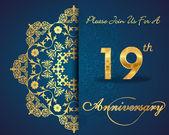 19 year anniversary celebration pattern — Stock Vector