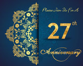 27 year anniversary celebration pattern — Vector de stock
