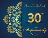 30 year anniversary celebration pattern — Vector de stock