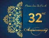 32 year anniversary celebration pattern — Stockvector