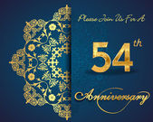 54 year anniversary celebration pattern — Vector de stock