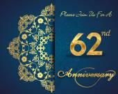 62 year anniversary celebration pattern — Stock Vector