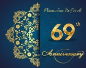 69 year anniversary celebration pattern — Vector de stock