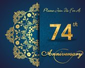 74 year anniversary celebration pattern — Vector de stock