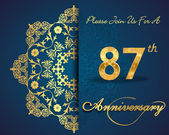 87 year anniversary celebration pattern — Vector de stock