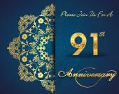 91 year anniversary celebration pattern — Vector de stock