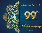 99 year anniversary celebration pattern — Stockvector