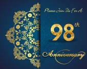 98 year anniversary celebration pattern — Vector de stock