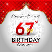 Celebrating 67 years birthday — Stock Vector