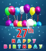 27 year Happy Birthday Card — Cтоковый вектор