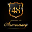 48 year anniversary golden label — Wektor stockowy  #65988839